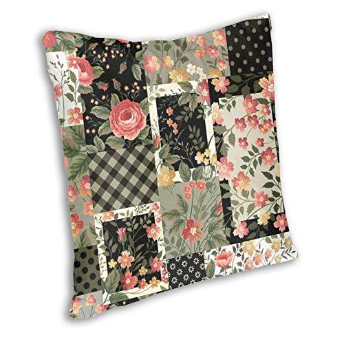 Zanghyu Fundas de cojín con diseño de flores rojas, estampado patchwork con rosas amarillas florales multicolor vintage Square Pillow Case Home Decorativo para sofá Room tamaño 66 x 66 pulgadas