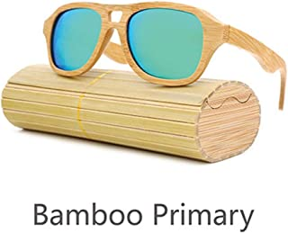 Songlin@yuan New Polarized Sunglasses Handmade Bamboo Sunscreen UV400 Coating Bamboo Retro Glasses Suitable for Unisex (Color : Green)