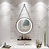 espejo de baño montado en la Pared Dorado/Negro LED táctil con luz Redondo...