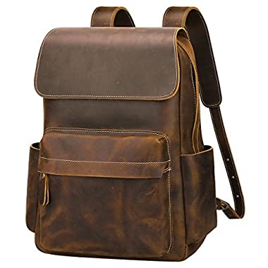 S-ZONE Casual Crazy Horse Real Genuine Leather Backpack Fashion Bag Daypack