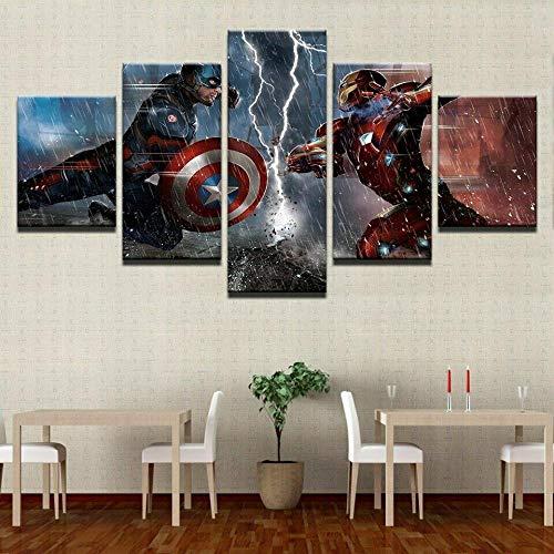 XIAYUU Captain America Iron Man Avengers 5 Pezzi Stampe E Quadri su Tela Immagini HD Stampe su Tela,Soggiorno Arte Decorazione Domestica Pittura Telaio di Legno Pronto da Appendere(150 x 80 cm)