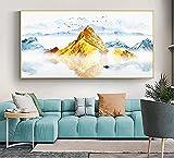Pinturas de lienzo de arte de navegación de paisaje de reflexión de agua modernas imágenes artísticas de pared para decoración de sala de estar 50x100 CM (sin marco)