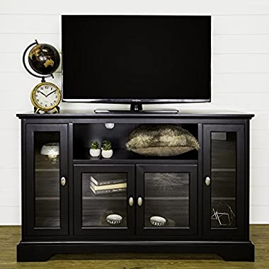 WE Furniture 52  Wood Highboy Style Tall TV Stand - Black