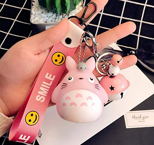 1 Pcs Pink New Cute Kawaii Cartoon Pink Cat Bell Totoro Keychain Smile Wrist Key Chains Novelty Creative Toy Gift Accessories Fashion Ornaments Coin Purse Keyring Bag Buckle Cellphone Pendant Set