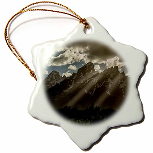 3dRose The Cathedral Group in Grand Teton NP, Wyoming, USA Snowflake Ornament