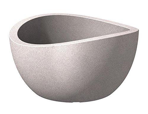 Scheurich Wave Globe Bowl, runde Pflanzschale aus Kunststoff, Taupe-Granit, 40 cm Durchmesser, 21 cm hoch, 12 l Vol.