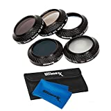 Ultimaxx 7 Piece Drone Camera Filter Bundle Kit for DJI Mavic Quadcopters Includes: ND4, ND8, ND16, UV, and CPL Filter, Cleaning Cloth, and Carrying Case; Made of Aluminum Alloy