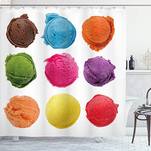 ABAKUHAUS EIS Duschvorhang, Lecker Sommer, mit 12 Ringe Set Wasserdicht Stielvoll Modern Farbfest & Schimmel Resistent, 175x200 cm, Mehrfarbig