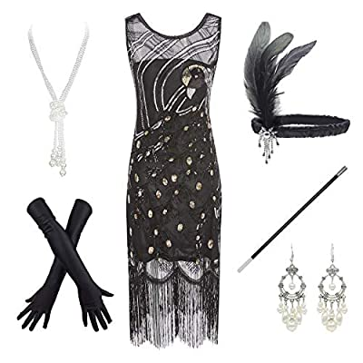 20s Vintage Peacock Sequin Fringed Cocktail Flapper Dress Costume Accessories Set