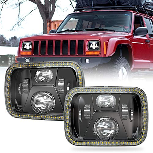 Z-OFFROAD 2pcs 110W 5x7 7x6 Halo LED Headlights with Turn Signal White DRL Sealed Beam Headlamp H6054 6054 Led Headlight Compatible with Jeep Cherokee XJ Wrangler YJ H5054 H6054LL 6052 6053 - Black