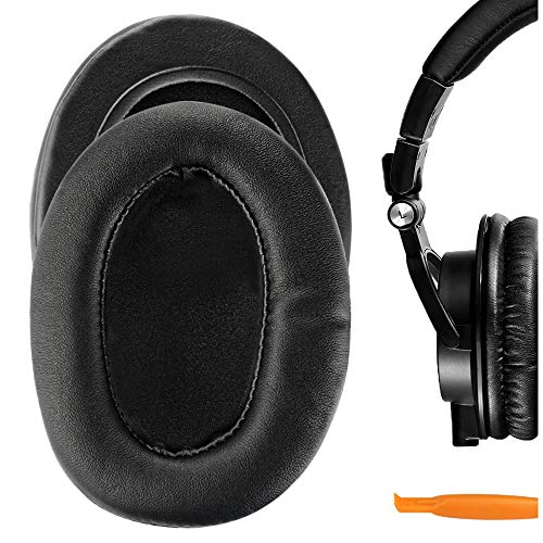 Geekria Performance Protein Leather Ear Pads for Audio-Technica ATH-M50X M40X M30X M20X M10X Headphones, Replacement Ear Cushion/Ear Cups/Ear Cover Earpads Repair Parts (Extra Thick)