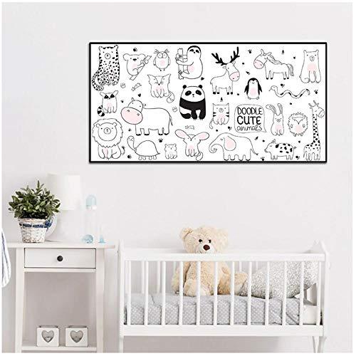 FUXUERUI Nursery Simple Animal Canvas Wall Line Art Mini Cute Pet Zoo Cartel nórdico Impresión de imagen Sala de estar Decoración del hogar - 50x100cm Sin marco