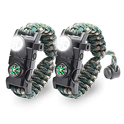 LeMotech 20 in 1 Adjustable Paracord Survival Bracelet, Tactical Emergency Gear Kit Includes SOS LED Flashlight, Compass, Rescue Whistle and Fire Starter-Outdoor Hiking Camping (Mountain Camo (2pcs))