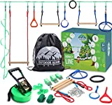 Ninja Warrior Obstacle Course for Kids - 55' Ninja Slack Line 8 Obstacles - Ninja Warrior Training Equipment for Kids - Outdoor Toys for Kids Ages 4-12 - Ninja Kids - Kids Outdoor Play Equipment