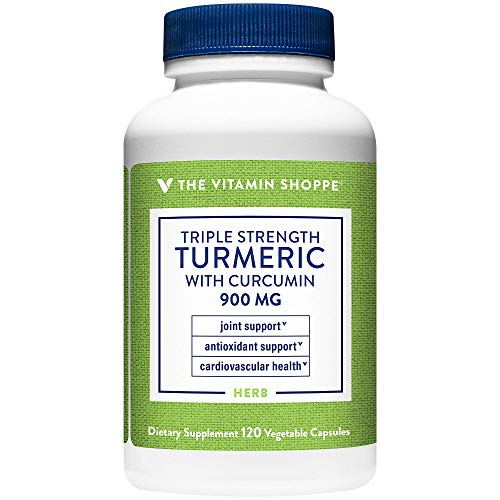 Triple Strength Turmeric with Curcumin 900mg, Supports Joint Mobility Provides Antioxidant Benefits 5mg Bioperine to Enhance Nutrient Absorption Once Daily (120 Capsules) by the Vitamin Shoppe