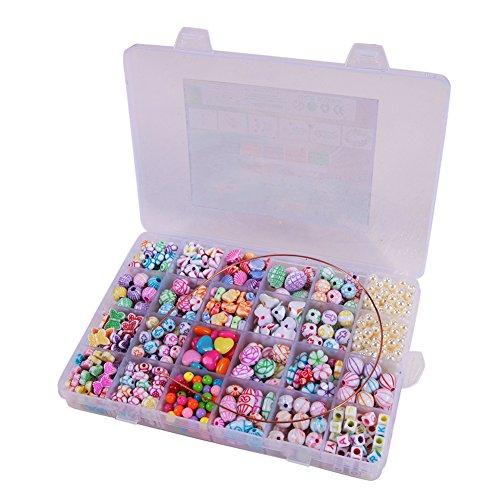 CHIC-CHIC- Kit De Loisirs Créatifs - L'atelier De Bijoux Fabrication de Bracelet Collier DIY Enfant Fille Cadezu Anniversaire Perles Fleur Animal (B)