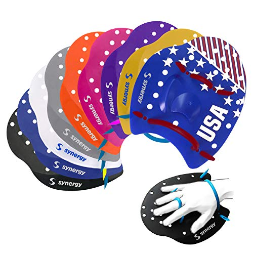 Synergy Hand Paddles for Swim Training (Clear, Medium)