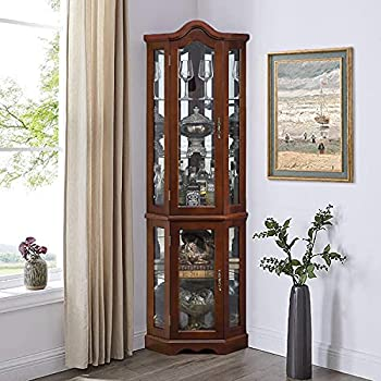Lighted Corner Curio Cabinet - 5-Tier Glass Liquor Cabinet with Tempered Glass Shelves and Light System Wood Display Curio Cabinet