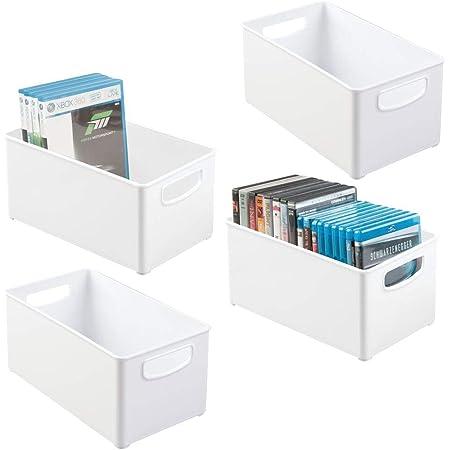 mDesign rangement DVD (lot de 4) – caisse de rangement pratique pour DVD, CD et jeux vidéo – rangement CD empilable – blanc