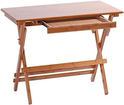 折りたたみテーブルスタディテーブル子供のデスクライティングデスクホームソリッドウッドの引き出しデスク引き出し付き LCSHAN (Color : Straight edge, Size : 90*50*(60~78)cm)
