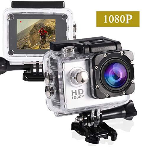 GUTSBOX 1080p 12MP Action Kamera Full HD 2,0 Zoll Bildschirm 40m/98 Fuß wasserdichte Sports Kamera mit Zubehör Kits für Fahrrad Motorrad Tauchen Schwimmen usw (Weiß)