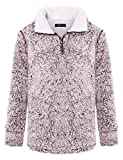 ZESICA Women's Autumn Winter Long Sleeve Zipper Sherpa Fleece Sweatshirt Pullover Jacket Coat Coffee