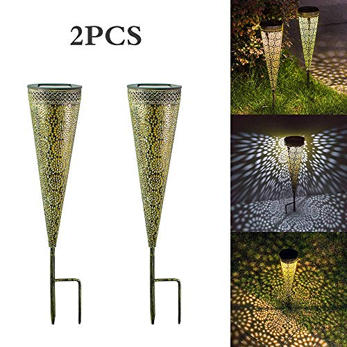 PopHMN Solar Lawn Lamp, 2 STKS Outdoor Holle IJzeren LED Solar Lights Waterdichte Holle Zachte Nachtlampje voor Tuin Decoraties Achtertuin Patio Loopweg