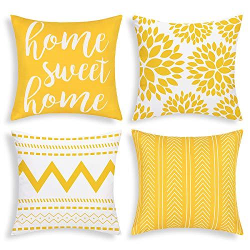 Bateruni 4er Set Geometrie Kissenbezüge, Moderne Dekorative Kissenhülle, Home Sweet Home Zierkissenbezüge für Sofa Couch Bett Auto (Gelb, 45x45cm)
