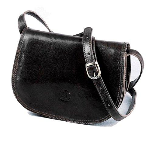 MICHELANGELO Piel genuina, piel de becerro, hecha a mano, Italia - Vintage bolso mediano, en Cuero 26x7.5 H19 cm (Negro)