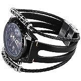 Samsung S3 Armband Frontier Ersatz Lederarmband Schwarz Damen Herren Uhrenarmband
