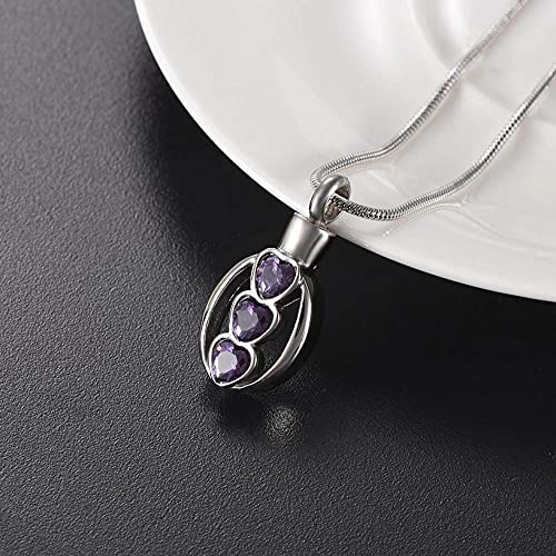 PicZhiwenture 3 Heart Crystal Pendant Necklace Hold Ashes Rememberance Jewelry Pet/Human Ash Urn Funeral Casket Cremation Jewelry