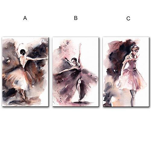 NOBRAND Acuarela Bailarina Carteles e Impresiones de Pared Ballet Girl Wall Art Canvas Prints Modern Protrait of Ballerina Canvas Art 50x70cm Sin Marco