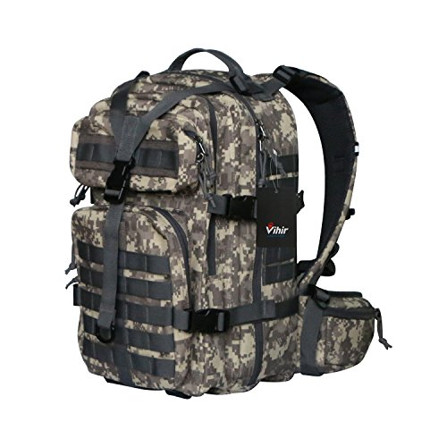 Vihir 40L Militär Taktischer Rucksack - Armee Molle Bug Out Tasche Sport Outdoor Rucksack für Outdoor Reisen Wandern Camping Trekking Jagd, ACU