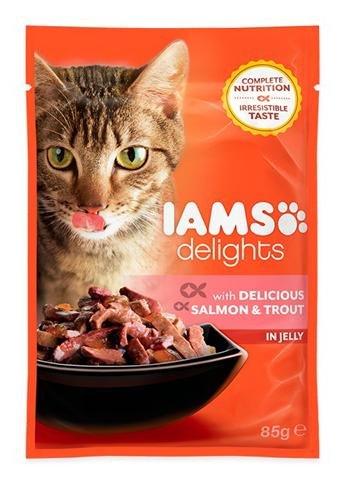 Iams Delights Katze Beutel lachs Forelle im Jelly 85g (24Stück)