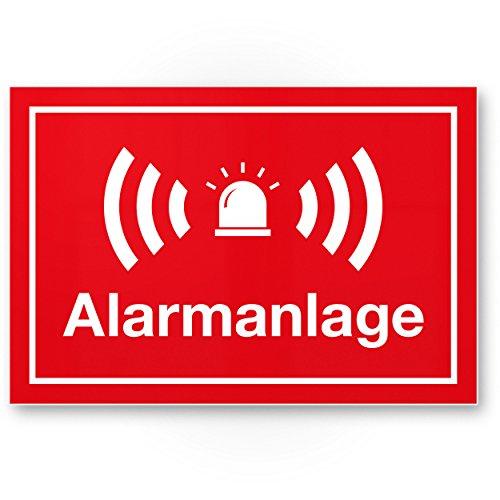 Alarmanlage Kunststoff Schild (rot 30 x 20 cm) - Achtung/Vorsicht Alarmgesichert - Hinweis/Hinweisschild Alarm - Haus/Gebäude/Objekt