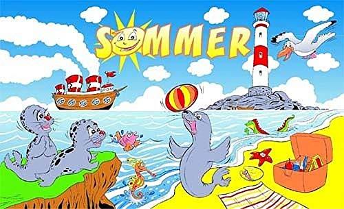 Fanshop Lünen Fahne - Flagge - Sommer - (Seehunde) - Urlaub - Leuchtturm - Meer - Küste - Sonne - Möwen - 90x150 cm - Hissfahne mit Ösen -