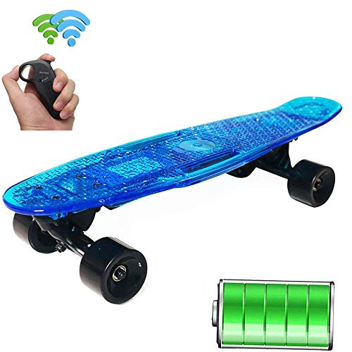 FGKING Electric Skateboard, Control Electric Longboard Skateboard, Built-in LED Light, Wireless Remote Control Skateboard, Suitable for for Beginners and City commuters,2