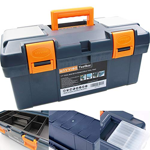 Anyyion 17inch Tool Box with Removable Tray  Small parts box on the lid is removable Tray can be removed and combined at will Blue