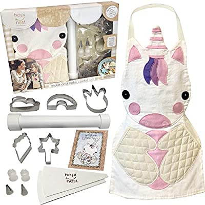 Hapinest Kids Baking Set for Girls Gifts Ages 4 5 6 7 8 Year Old Make and Bake Cookies Unicorn Apron and Cookie Cutters, 14 Pieces