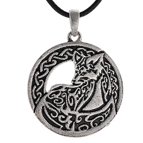 QIANJI Celtic Ethnic Fox Pendant Necklace Vintage Necklace Animal Jewelry
