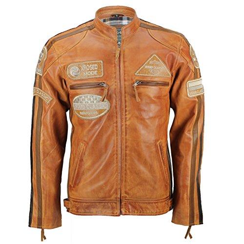 Xposed Herren Bikerjacke aus weichem Echtleder, Vintage-Stil, Urban Retro Look Gr. XL, rust