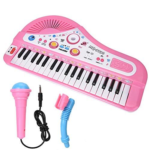 Kinder Klavier, Musikinstrumente Spielzeug, 37 Tastatur E-Piano E-Keyboard Klavier für Kinder ab 3 Jahren Geburtstag/Weihnachten(Powder)