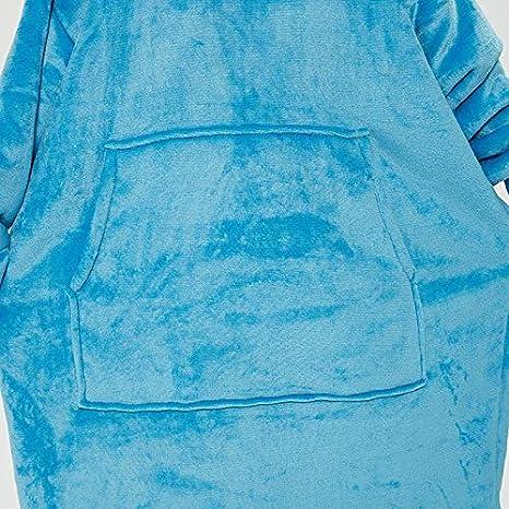Couverture en Peluche Sherpa Douce Surdimensionn/ée Bleu Adolescents Sweat /à Capuche R/éversible avec Manches et Poches /élastiques Hommes Convient Aux Femmes Couverture Longue /à Capuche