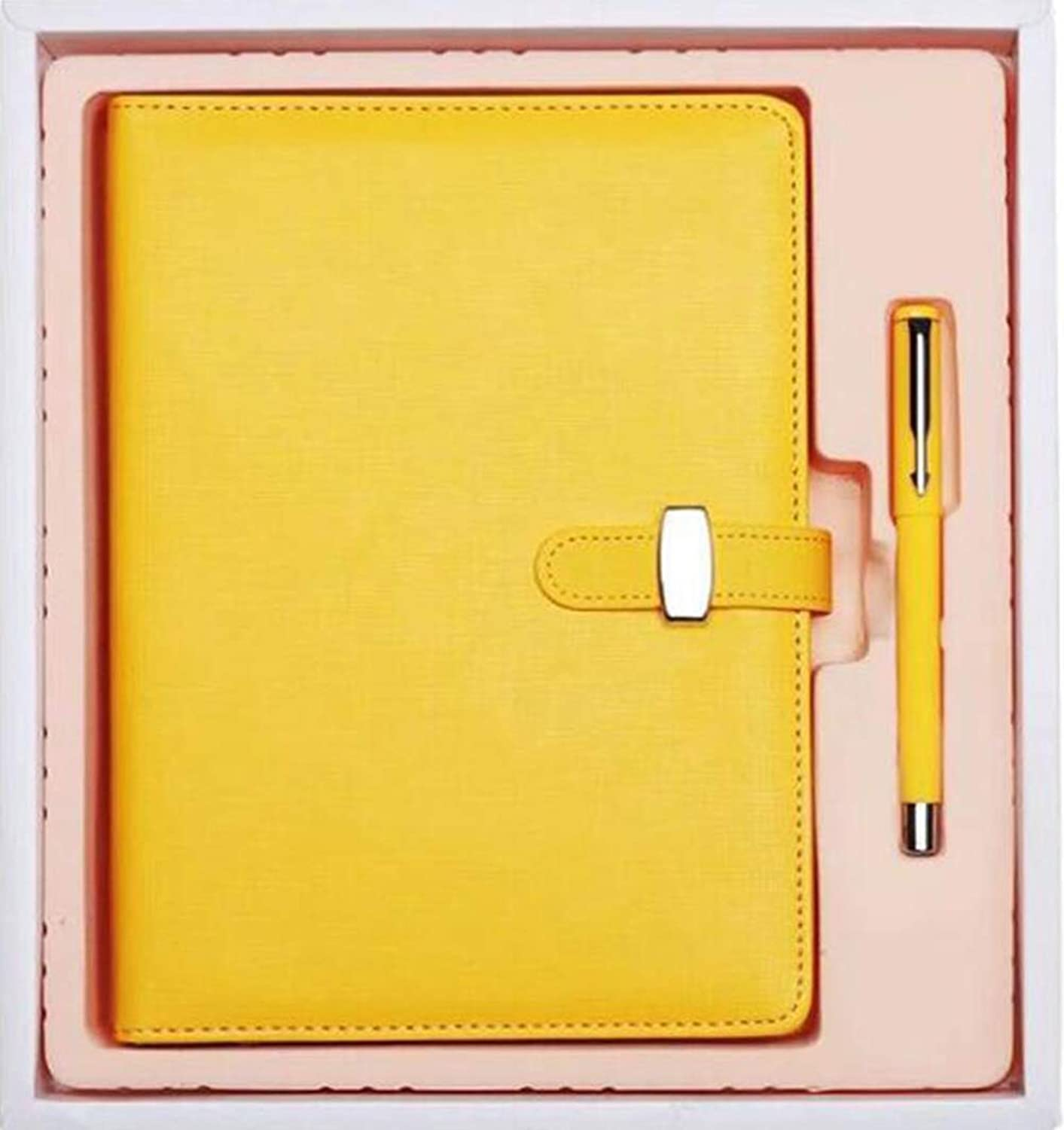 A5 LooseLeaf Detachable Page Diary Imitation Leather Cover Suit Business Business Office Stationery Notepad,Yellow