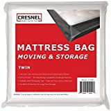 CRESNEL Mattress Bag for Moving & Long-Term Storage - Twin Size - Enhanced Mattress Protection with 5 mil Super Thick Tear & Puncture Resistance Polyethylene