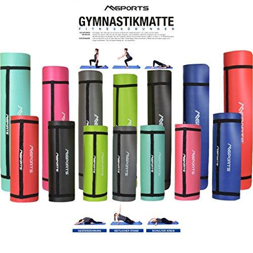 MSPORTS Gymnastikmatte Professional 190x100x1,2 cm - Zitronengelb | inkl. Übungsposter + Tragegurt | Hautfreundliche - Phthalatfreie Fitnessmatte - sehr weich - extra dick - Yogamatte