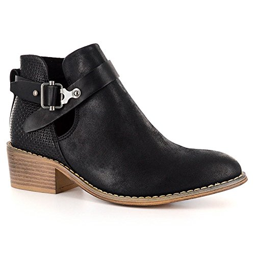 Corkys Womens Celtic Faux Leather Cut Out Ankle Boots (8, Black)