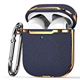 KIQ Premium Protection Case Cover Anti-Scratch Full-Body Slim and Lightweight for Airpod Charging Case Compatible with Apple Airpod 1st & 2nd Generation (Navy Blue/Gold)