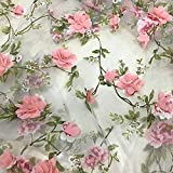 3D Rose Floral Stickerei Spitzenstoff Organza Rosa Chiffon