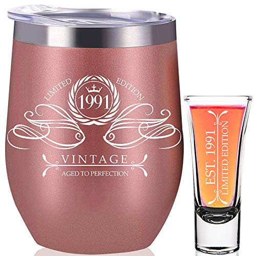 1991 30th Birthday Gifts For Women, 30th Birthday Decorations for Women, Funny Present Ideas Her Wife Mom Coworker, Rose Gold Wine Tumbler 12 oz Stainless Steel Insulated Shot Glass, 30 Anniversary